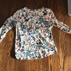 Rebecca Taylor linen floral 3/4 sleeve tee m